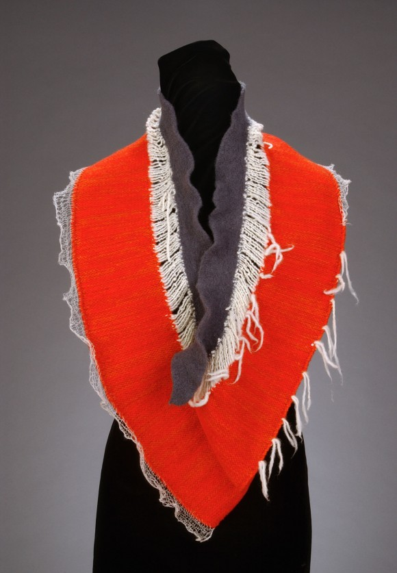 Orange-red with gray and ivory