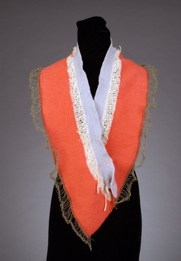 Orange with ivory and light brown