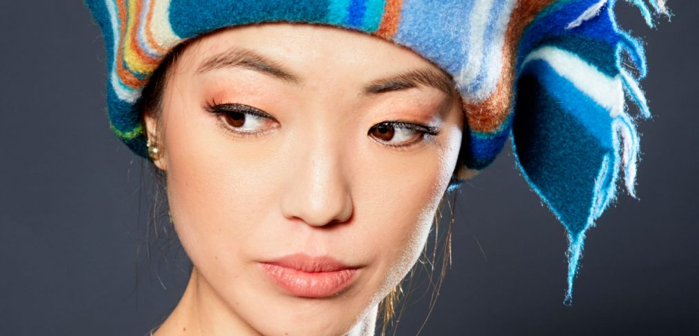 Hat with blue and orange stripes