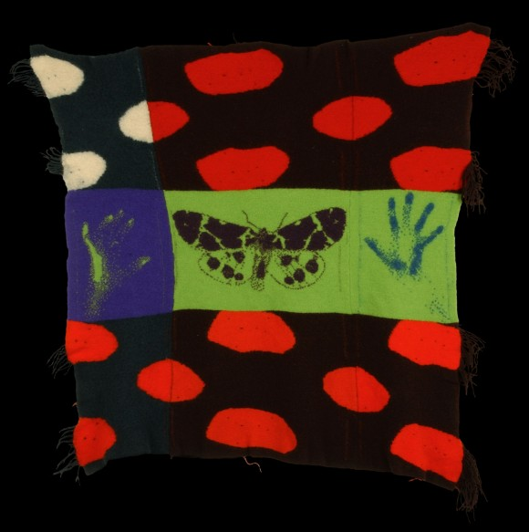 Blanket with butterfly and two hands