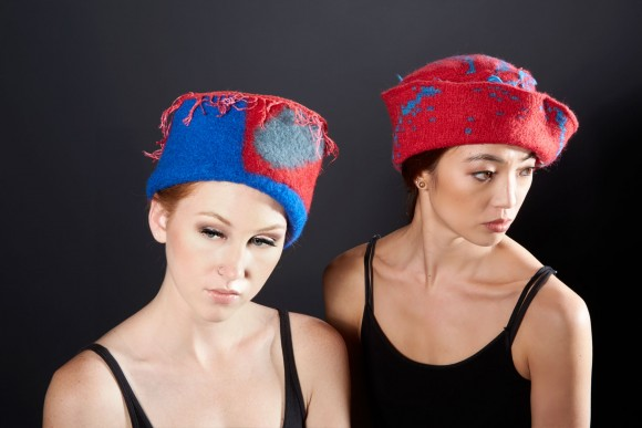 Red and blue hats