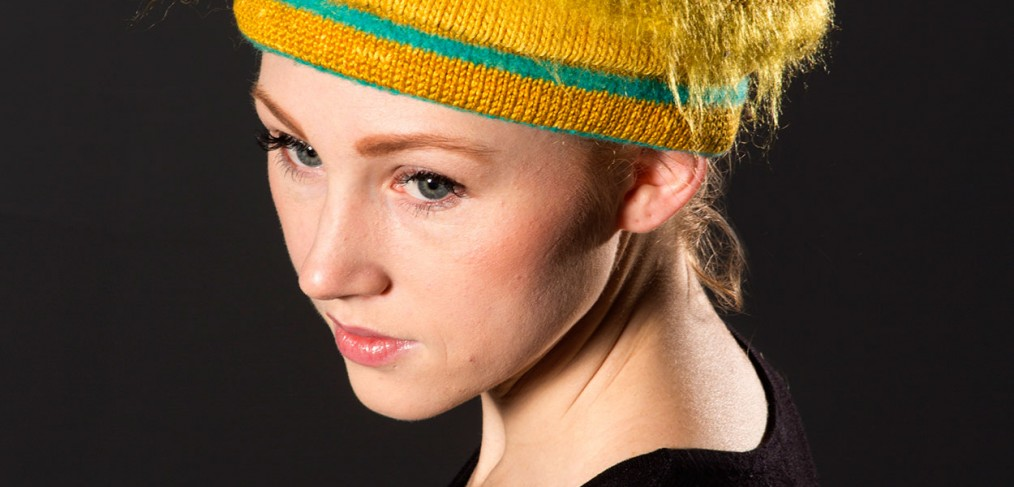 Gold, ivory, teal wool hat