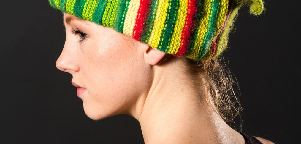 Green striped hat with red and ivory